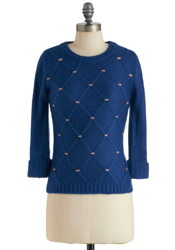 In Due Coursework Sweater by Tulle Clothing - Blue, Pink, Knitted, Long Sleeve, Casual, Fall, Winter, Mid-length, Scholastic/Collegiate