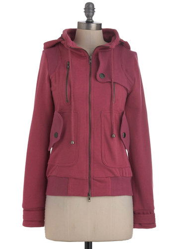 Leipzig Hoodie in Rose - Purple, Solid, Exposed zipper, Pockets, Long Sleeve, Hoodie, Mid-length, 2, Pink, Casual, Fall, Exclusives, Knit