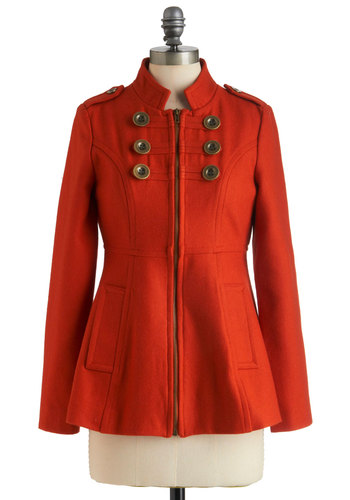 Brilliant Brigade Coat by Tulle Clothing - Mid-length, Solid, Buttons, Pockets, Long Sleeve, Orange, Epaulets, Exposed zipper, Military, Fall, 3, Steampunk