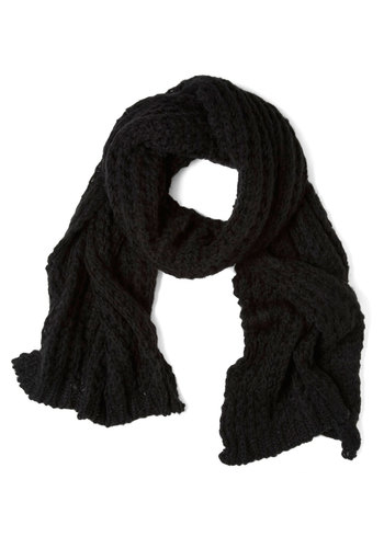 Cozy and Effect Scarf in Obsidian - Black, Solid, Knitted, Winter, Casual