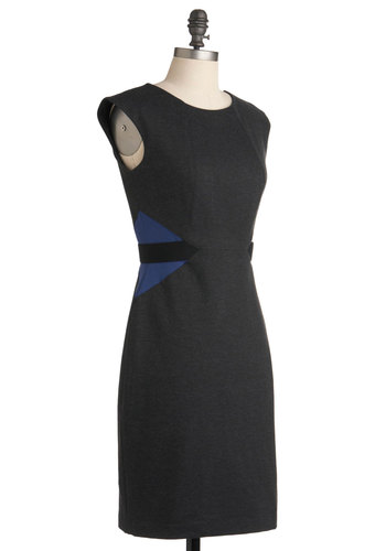 Fiona's Positively Profesh Dress - Grey, Blue, Party, Work, Urban, Shift, Sleeveless, Mid-length, Girls Night Out