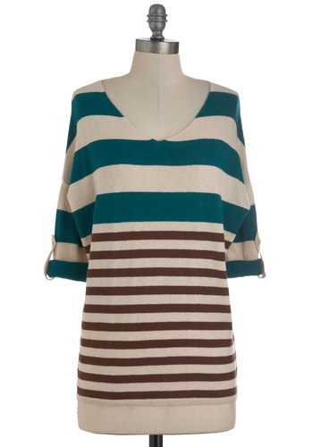 Unearthing the Aquifer Top - Brown, Tan / Cream, Stripes, Buttons, Casual, 3/4 Sleeve, Fall, Mid-length, Cotton, V Neck