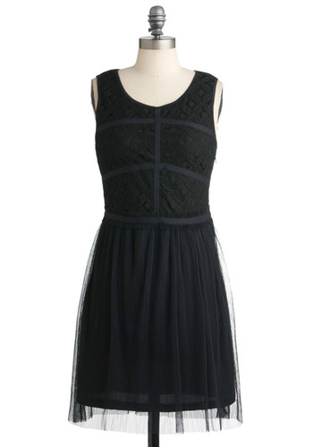 Rise to the Occasion Dress - Mid-length, Black, Solid, Lace, Pleats, Party, Film Noir, A-line, Sleeveless, Cocktail