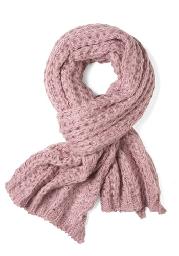Cozy and Effect Scarf in Mauve - Pink, Knitted, Winter, Pastel