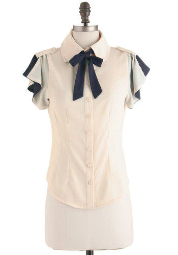 Flutter Me Up Top - Mid-length, Work, Cream, Blue, Bows, Epaulets, Short Sleeves, Tie Neck, Scholastic/Collegiate, Sheer, Button Down, Collared