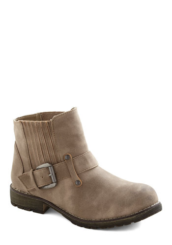 Stride and True Boot - Tan, Solid, Buckles, Casual, Boho, Fall, Faux Leather, Low, Holiday Sale