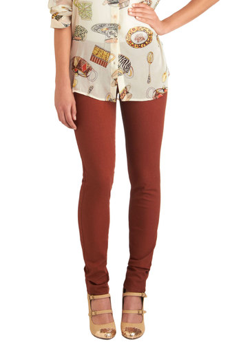 Spring in Every Season Jeans in Caramel - Brown, Solid, Buttons, Pockets, Casual, Skinny, Denim, Variation