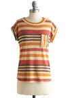 Whistle a Happy Pontoon Top - Multi, Red, Orange, Tan / Cream, Black, Stripes, Pockets, Casual, Short Sleeves, Mid-length