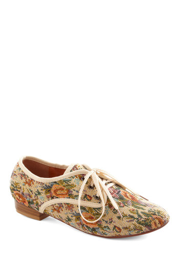 Just My Textile Flat - Tan, Multi, Floral, Menswear Inspired, Casual, French / Victorian, Pastel, Lace Up, Low