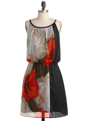 Photographing Flowers Dress - Short, Black, Floral, Party, A-line, Spaghetti Straps, Red, Tan / Cream, Belted