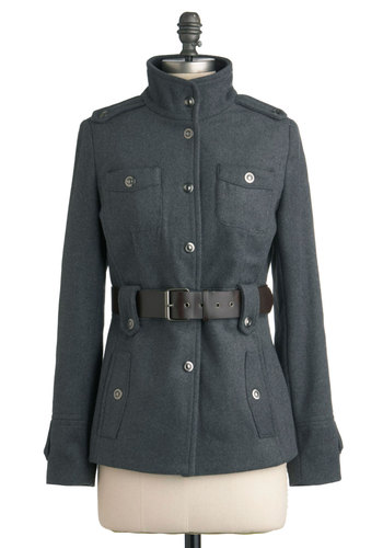 I Know We Just Metro Jacket - Mid-length, Grey, Solid, Buttons, Pockets, Long Sleeve, 3, Belted, Casual, Military, Menswear Inspired, Fall