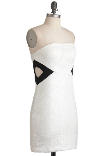 Crystal Icing Dress - White, Black, Cutout, Sequins, Girls Night Out, Mini, Bodycon / Bandage, Strapless, Party, Short