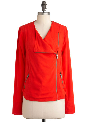 Less is Moped Jacket by Jack by BB Dakota - Mid-length, Red, Solid, Casual, Long Sleeve, Exposed zipper, Pockets, Fall, 1