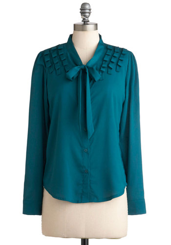 Teal Be Together Top - Mid-length, Blue, Buttons, Tie Neck, Long Sleeve, Solid, Work