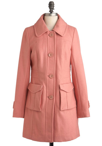 Petal to the Park Coat by Tulle Clothing - Long, Pink, Solid, Buttons, Pockets, Casual, Long Sleeve, Winter, Pastel, 3