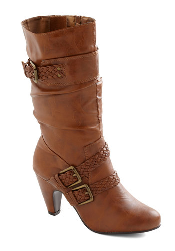 Fair Plait Boot - Tan, Solid, Braided, Buckles, Casual, Safari, Rustic, Fall, Faux Leather, Mid