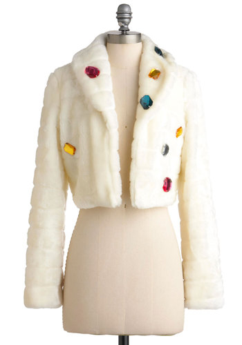 Sarah's Honey Frou-Frou Jacket - White, Long Sleeve, 2, Solid, Party, Statement, Quirky, Fall, Winter, Glitter, Cocktail, Holiday Party, International Designer, Short