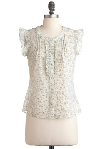 Poppy Seed Pretty Top by Tulle Clothing - Mid-length, Cream, Black, Polka Dots, Buttons, Ruffles, Short Sleeves, Work, Casual, Sheer, Button Down