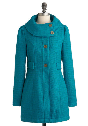 By Your Bayside Coat by Tulle Clothing - Long, Blue, Solid, Buttons, Pockets, Long Sleeve, 3, Casual, Vintage Inspired, 50s, 60s, Fall, Winter