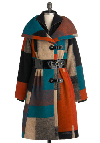 Plenty by Tracy Reese Appalachian Outing Coat by Plenty by Tracy Reese - Long, Multi, Orange, Blue, Brown, Buckles, Long Sleeve, 4.5, Casual, Rustic, Winter