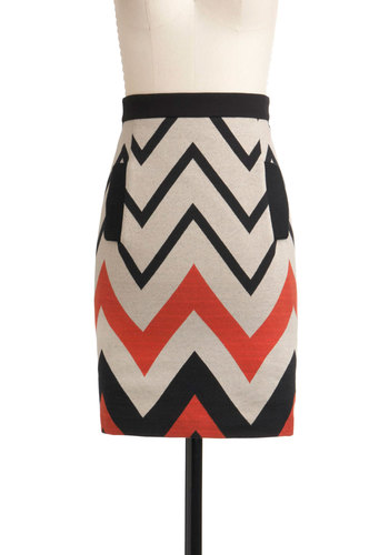 Plenty by Tracy Reese For the Journey Skirt by Plenty by Tracy Reese - Mid-length, Red, Black, Pockets, Party, Pencil, Print, Statement, Fall, Bodycon / Bandage, High Waist, Multi