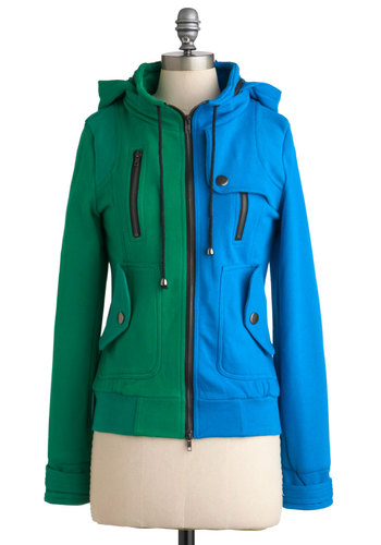 Leipzig Hoodie in Sky and Grass - Green, Buttons, Exposed zipper, Pockets, Long Sleeve, Hoodie, Mid-length, 2, Casual, Colorblocking, Exclusives, Top Rated, Knit