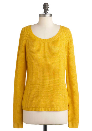 Shining Smile Sweater - Mid-length, Yellow, Solid, Casual, Long Sleeve, Scholastic/Collegiate, Fall