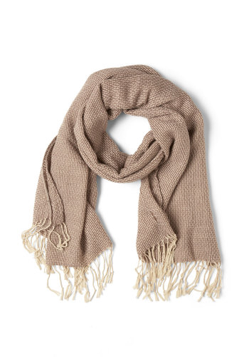 Weave Through Crowds Scarf in Taupe - Tan, Fringed, Knitted, Fall