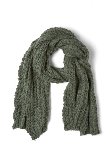 Cozy and Effect Scarf in Sage - Green, Solid, Knitted, Casual, Winter