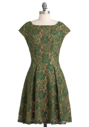 Evergreen and Anon Dress by Eva Franco - Green, Tan / Cream, Lace, Party, A-line, Sleeveless, Mid-length, French / Victorian, Holiday Party, Cocktail, Boat, Fit & Flare