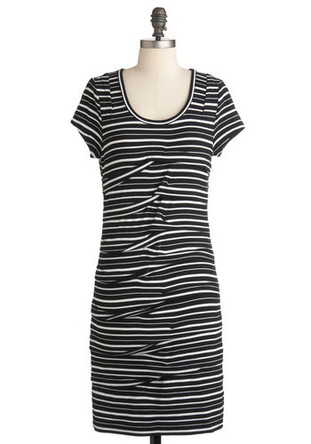 On a School Night Dress - Black, White, Stripes, Casual, Shift, Short Sleeves, Mid-length, Scoop