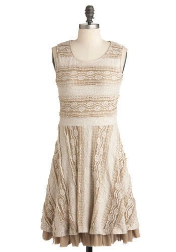 Almond Tart Dress - Tan / Cream, Party, A-line, Sleeveless, Mid-length, Lace, Vintage Inspired, Cream, Stripes