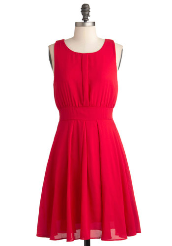 Quintessence of Taste Dress - Red, Solid, Party, A-line, Sleeveless, Mid-length, Pleats, Fit & Flare, Prom