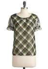 Align Your Luck Top - Green, Multi, Plaid, Buttons, Short Sleeves, Rustic, Mid-length, Casual, Scholastic/Collegiate, Sheer