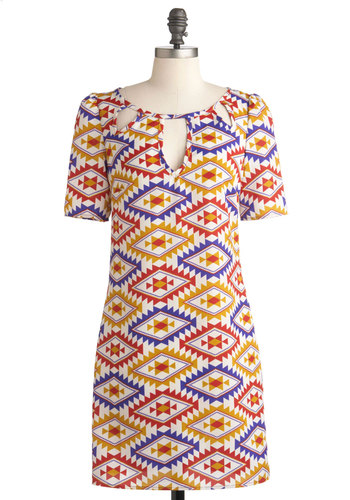 Mosaic Moxie Dress - Mid-length, Multi, Orange, Purple, Print, Party, Casual, 60s, Shift, 3/4 Sleeve, Cutout