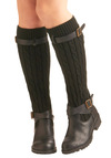 Change for the Sweater Boot by Restricted - Black, Solid, Buckles, Knitted, Casual, Rustic, Winter