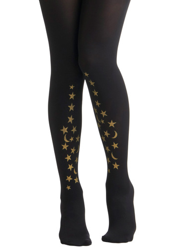 Celestial Be Friends Tights by Sneaky Fox - Black, Gold, Party, Casual, Glitter, Girls Night Out, Holiday Party