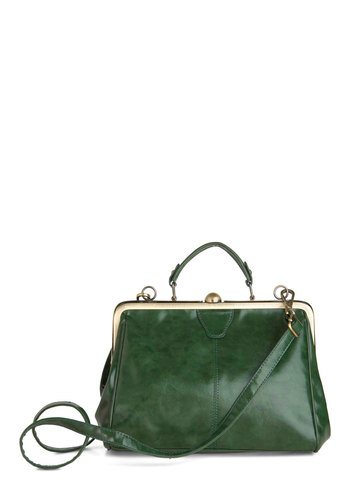 Believe It or Not Bag in Emerald - Green, Solid, Work, Vintage Inspired, 50s, 60s, Variation