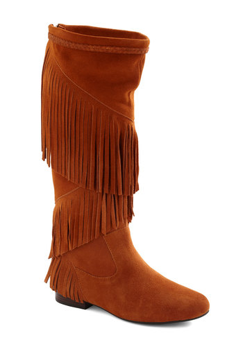 Kate's Sole Mates Boot - Tan, Solid, Fringed, Casual, Boho, 70s, Fall, Leather, Low