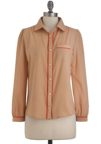 So What's Neutral? Top - Mid-length, Tan, Red, Buttons, Trim, Long Sleeve, Sheer, Button Down, Collared