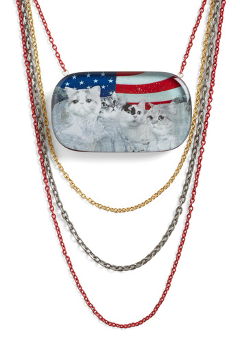 Monumental Decision Necklace by Locketship - Red, Blue, White, Print with Animals, Statement, Kawaii, Quirky