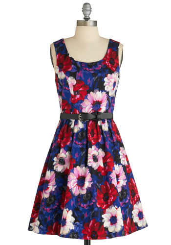 Poppy and You Know It Dress - Short, Multi, Red, Blue, Pink, Black, Floral, Exposed zipper, Belted, Party, Fit & Flare, Tank top (2 thick straps), Cotton, Scoop