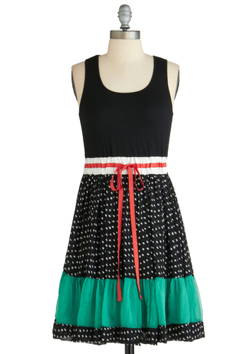 Sample 2162 - Black, Solid, Polka Dots, Ruffles, Casual, Folk Art, Quirky, A-line, Belted, Tank top (2 thick straps)