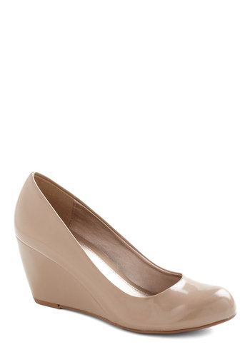 Find Your Feat Wedge in Ecru - Wedge, Tan, Solid, Work, Vintage Inspired, Faux Leather, Mid, Variation