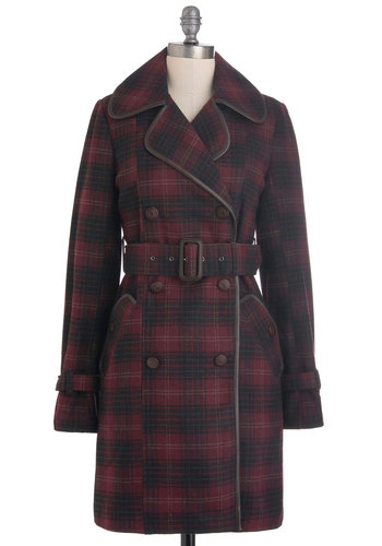 Maroon of One's Own Coat by BB Dakota - Long, Red, Black, Plaid, Buttons, Pockets, Belted, Long Sleeve, 3, Casual, Fall, Scholastic/Collegiate, Double Breasted