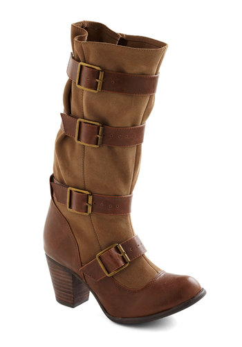 Buckle Down to Business Boot by Chelsea Crew - Tan, Brown, Buckles, Safari, Mid, Casual, Rustic, Fall, Leather