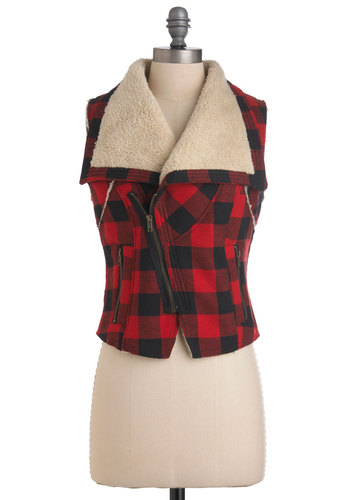 Lumberjack and Jill Vest - Short, Red, Tan / Cream, Black, Checkered / Gingham, Casual, Sleeveless, Rustic