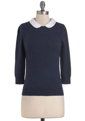 Confetti Confessions Sweater - Mid-length, Blue, White, Solid, Peter Pan Collar, Long Sleeve, Work, Casual, Vintage Inspired, Scholastic/Collegiate, Fall, Collared