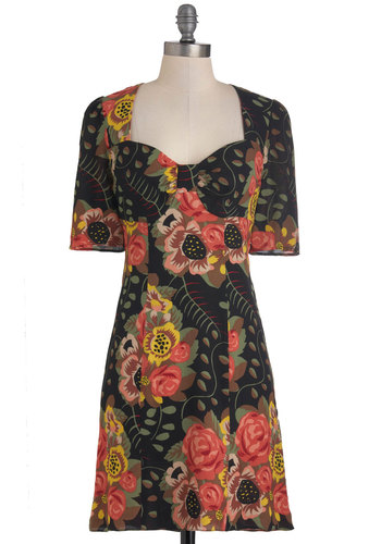 Plenty by Tracy Reese Sunflower Gal Dress by Plenty by Tracy Reese - Mid-length, Multi, Floral, Party, Casual, Vintage Inspired, French / Victorian, 3/4 Sleeve, Fall, Sweetheart, Tis the Season Sale
