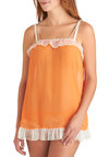 Rest Easy Nightgown - Orange, White, Bows, Lace, Ruffles, Vintage Inspired, Spaghetti Straps, Exclusives, Sheer